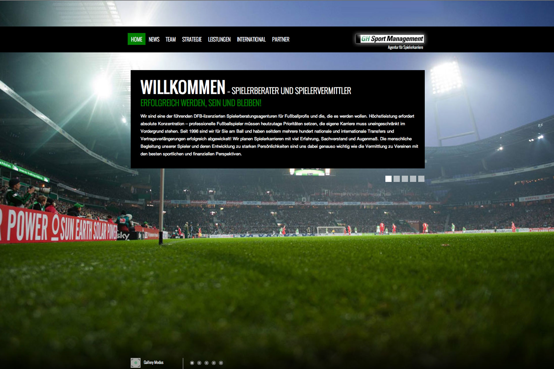 Web Design //  Agency: web.surfers // Client: GH Sportsmanagement // Branch: Consulting and Sport